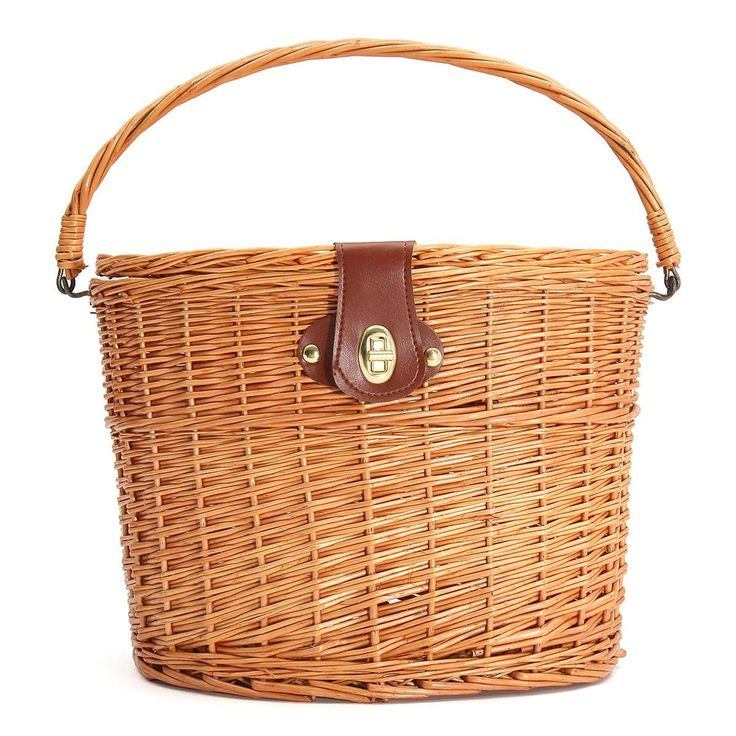 Willow retro road racing bicycle Cycling skep cane manmade vintage track bike natural wicker basket leather wrap leisure bag