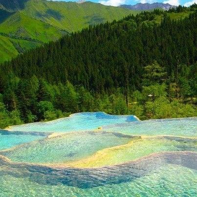 The rock pools at Huanglong Natural Preserve, Sichuan China