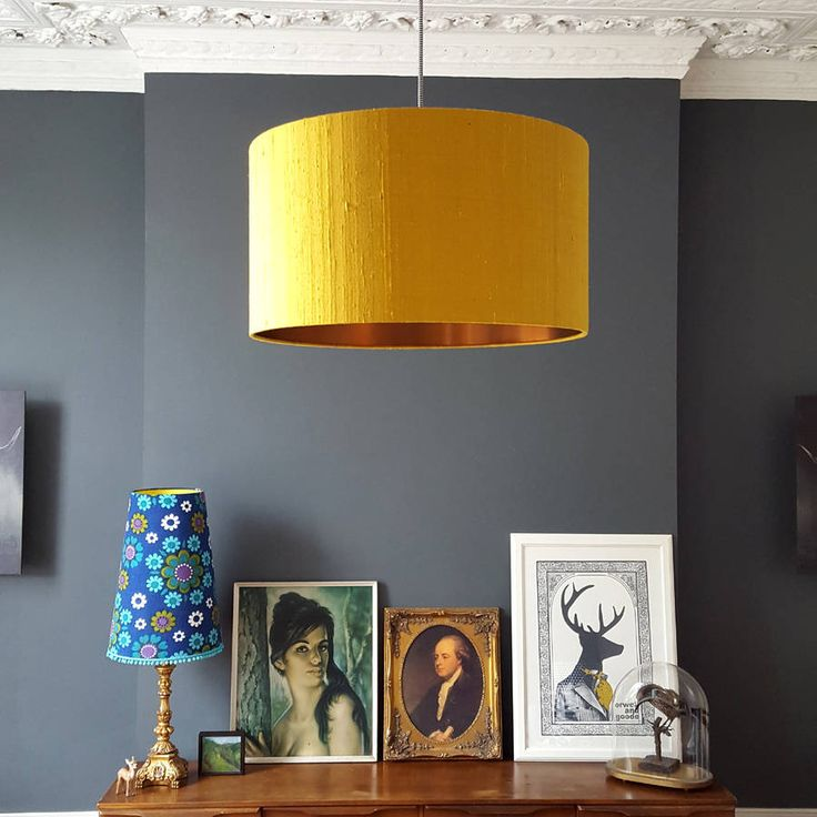 brushed copper lampshade in mustard indian silk dupion by love frankie | notonthehighstreet.com