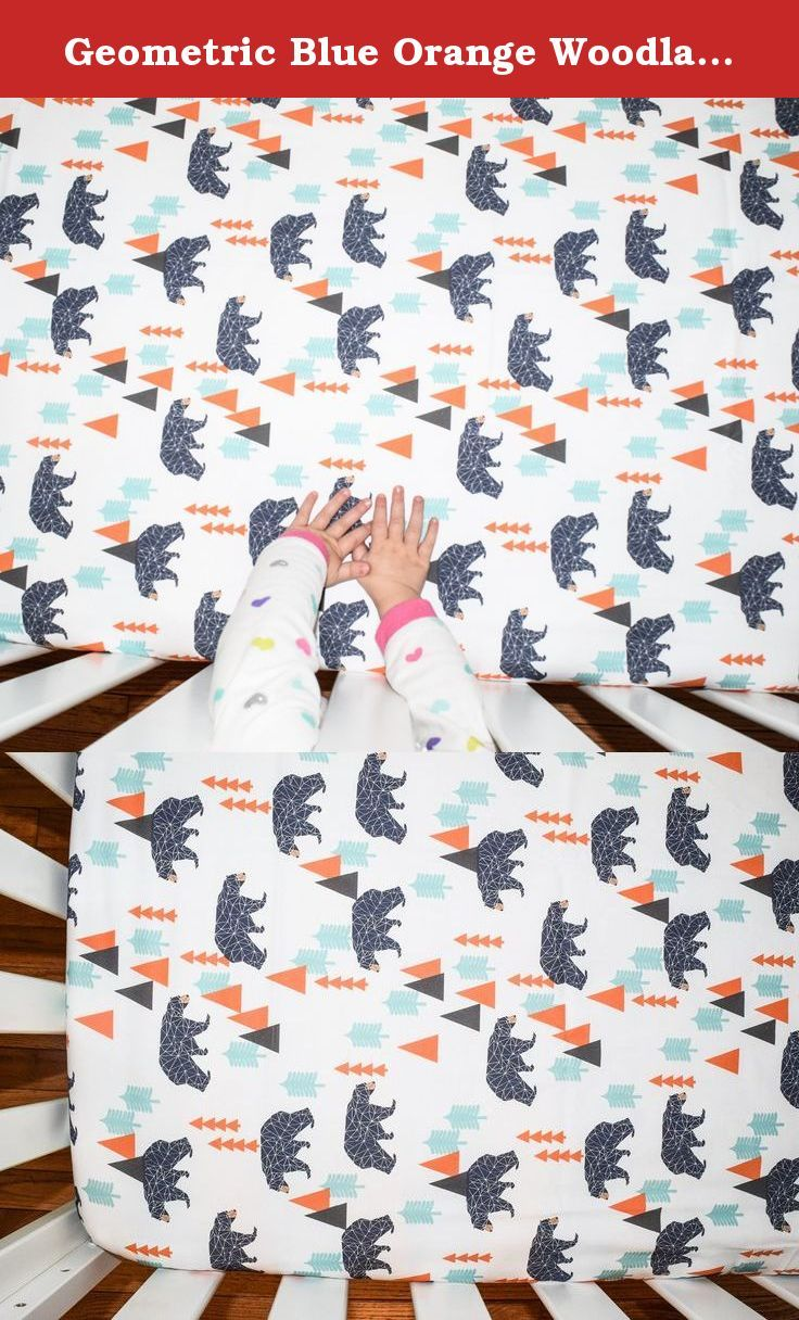 Geometric Blue Orange Woodland Bear Rustic Fitted Crib Sheet. Crib sheets are fitted with elastic and fit standard sizes mattresses. This fabric is also available to make into a changing pad cover blanket, pillow cover, skirt, and bumper. Please just message me for more info!.