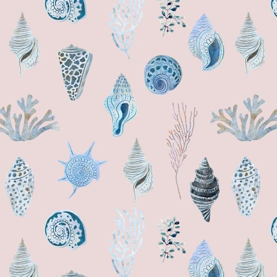Sea Shells Fabric By The Yard Quilting Cotton Knit Jersey Etsy Shell Pattern Fabric Vintage Prints