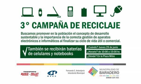 3° campaña de reciclaje y reutilización de aparatos eléctricos, electrónicos, batería de celular y notebook