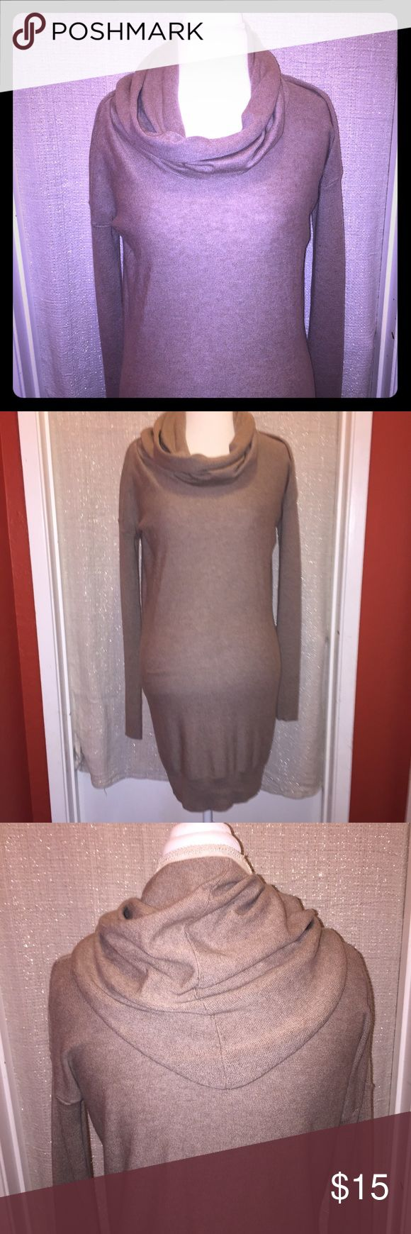 NWOT cowl neck sweater dress Frappachino brown lightweight sweater dress, large and flowy cowl neck. There is a very small pull in the left back shoulder as pictured but it is underneath the cowl when worn. ruby moon Dresses Midi