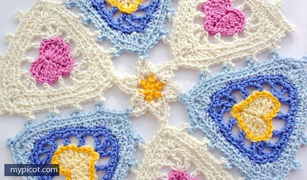 Triangle Heart Motif - Free Crochet Pattern - (mypicot)