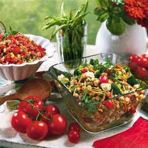 Combine an assortment of colorful vegetables and stir in chickpeas and olives for a hearty vegetable salad that's easy to make and easy to take if you're headed to a picnic or potluck supper.Prep: 20 min., Chill: 5 hrs.