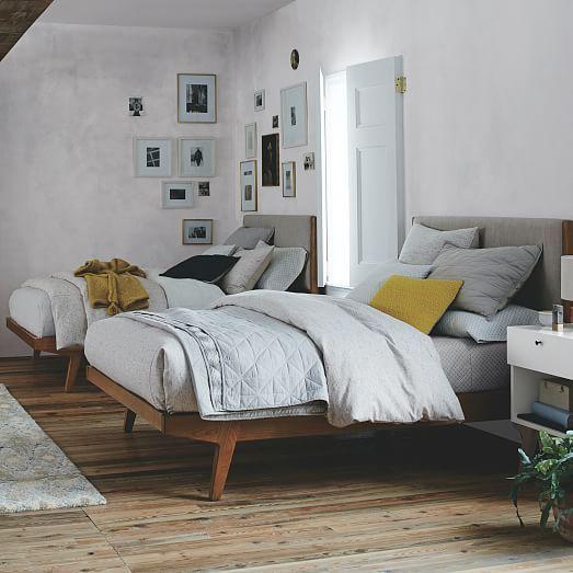 Modern Bed - Queen, Natural Linen Weave