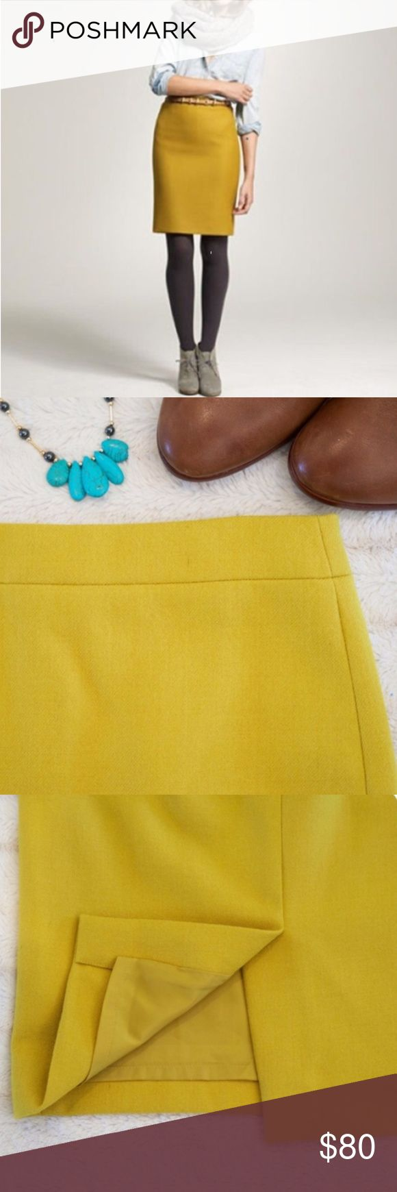 J. Crew Mustard Yellow Wool Blend Pencil Skirt 0 Wool J. Crew mustard yellow pencil skirt size 0. EUC. See pictures for measurements. J. Crew Skirts Pencil