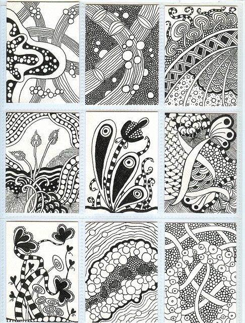 zentangle inspired art (could use this idea to create a pattern with stones in a patio/walkway)