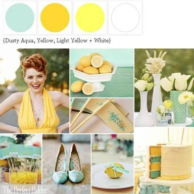 Wedding Color Palette: Dusty Aqua, Yellow, Light Yellow White