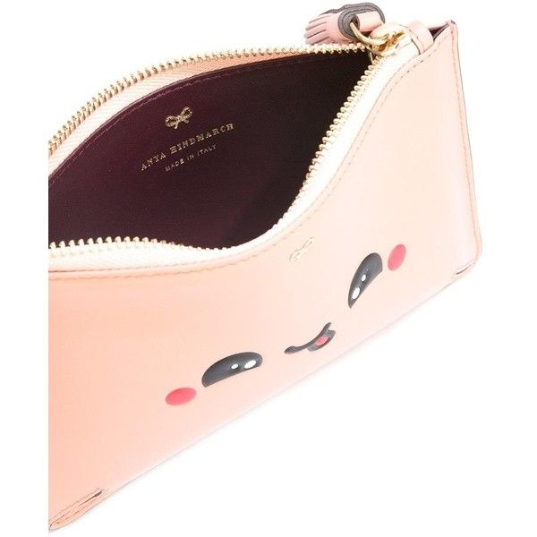 Anya Hindmarch Kawaii Yum clutch ($250) ❤ liked on Polyvore featuring bags, handbags, clutches, pink leather purse, leather handbags, pink leather handbags, anya hindmarch purse and pink clutches