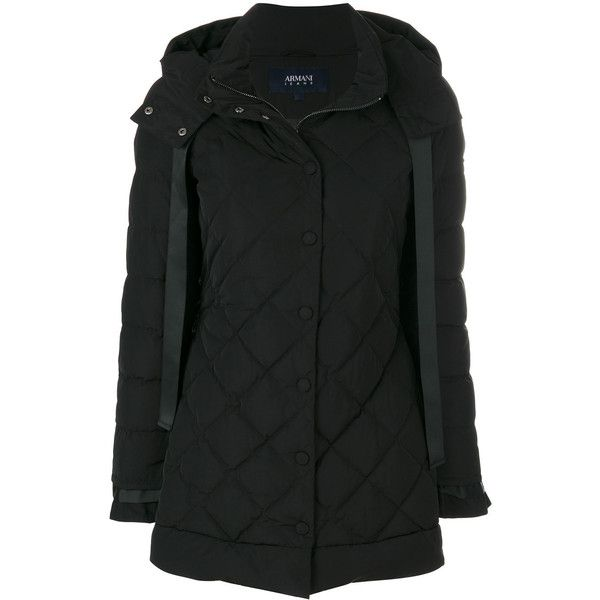 Armani Jeans Quilted Hooded Coat (23,480 INR) ❤ liked on Polyvore featuring outerwear, coats, feather coat, hooded coat, quilted coat, armani jeans and armani jeans coat