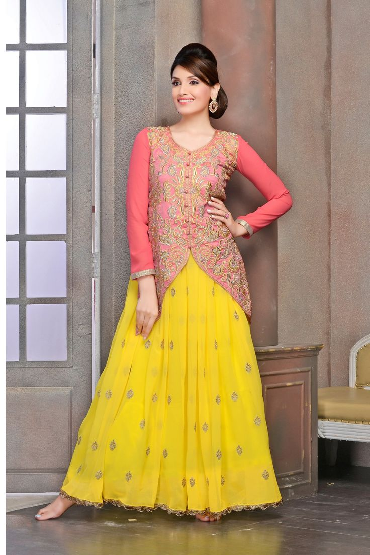 Go Gorgeous with Yellow and Peach Faux Georgette Anarkali Suit Shop now @ http://zohraa.com/salwar-kameez/suits-dresses/anarkali/yellow-faux-georgette-anarkali-suit-z1723p508-16.html sku : 63820 Rs. 2,599 #suits #suitsonline #anarkalisuits #anarkalis