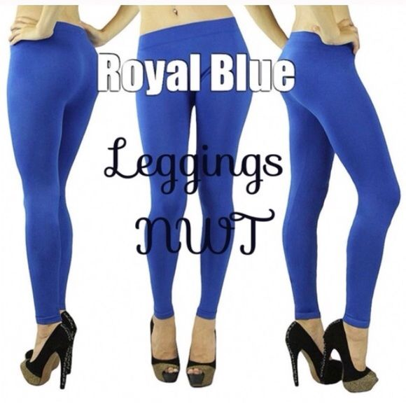 NWT royal blue leggings New in package royal blue leggings.  One size fits most. Polyester and spandex blend.  Very stretchy. Pants Leggings