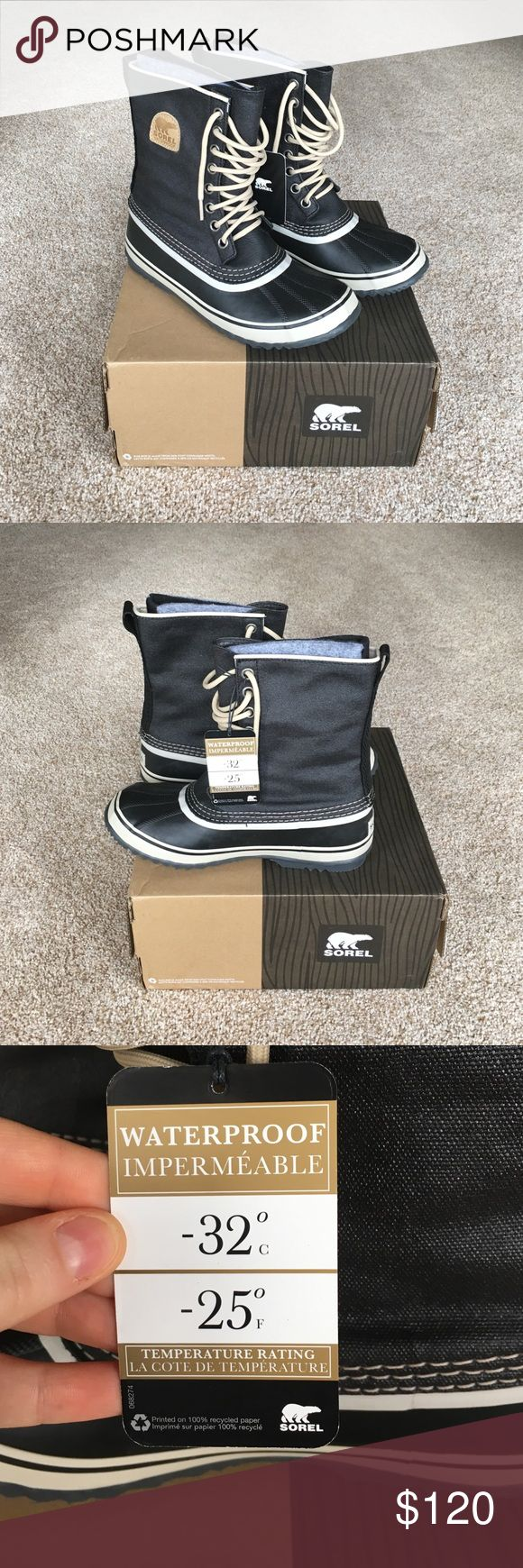 Brand New Sorel Women's Winter Boots Size 10 Sorel Winter Boots New with tags. Never been worn. Color is black with fossil and comes also with black laces. Sorel Shoes Winter & Rain Boots