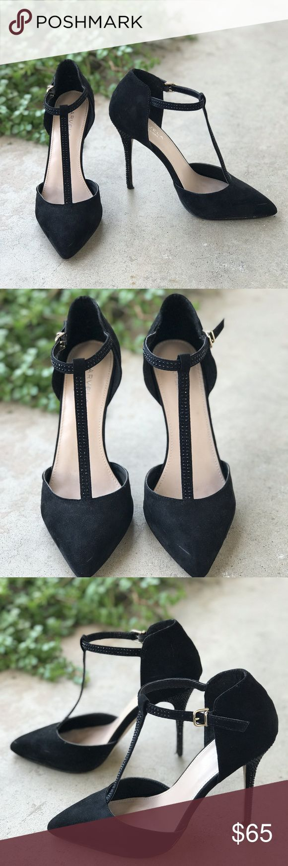 Carvela Kurt Geiger Black T Strap Rhinestone Heels Pointed black heels by Carvela Kurt Geiger with rhinestone straps and heels. Leather upper. Lighty worn with very minor scuffing (like in the toe) but still in great condition with a lot of life left! Size EU 38/US 8. Kurt Geiger Shoes Heels
