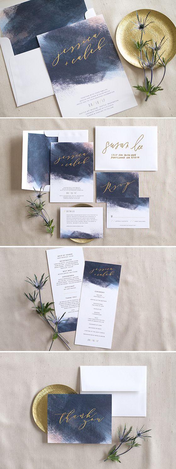 sample spanish wedding invitations%0A Modern Brushstroke Wedding Invitation Suite from Elli com