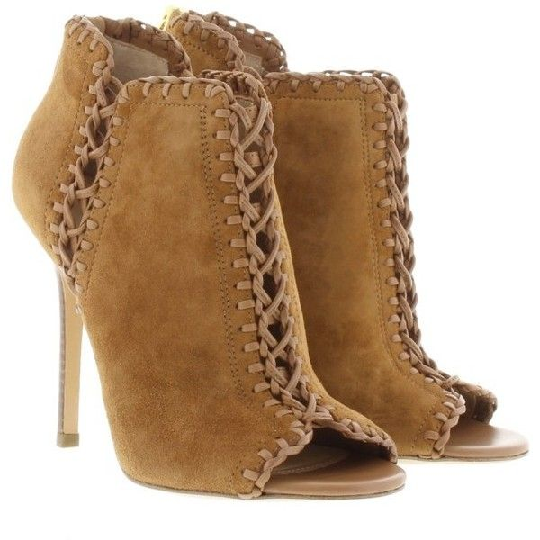 Michael Kors Collection Henley Ankle Bootie Suede Dark Luggage  in... ($560) ❤ liked on Polyvore featuring shoes, boots, ankle booties, brown, suede bootie, suede boots, michael kors booties, cognac booties and michael kors boots