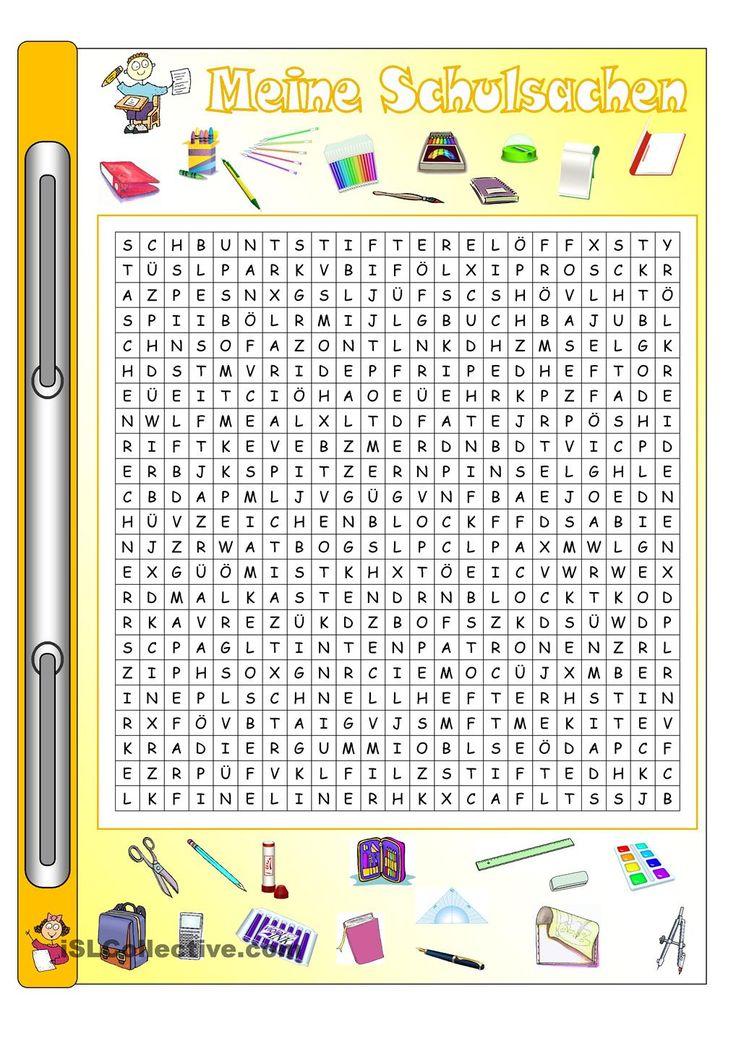 Meine Schulsachen_Bilder & Wörter + Gitterrätsel Arbeitsblatt - Kostenlose DAF Arbeitsblätter