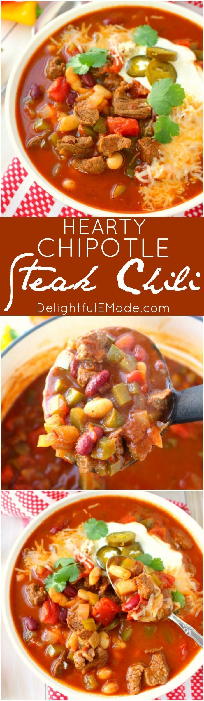 Let me introduce you to your new favorite chili recipe!  This Hearty Chipotle Steak Chili is an amazing dinner option that's loaded with tender sirloin steak, beans, peppers and tomatoes.  Perfect if you love a hot, delicious bowl of soup on a cold day!: