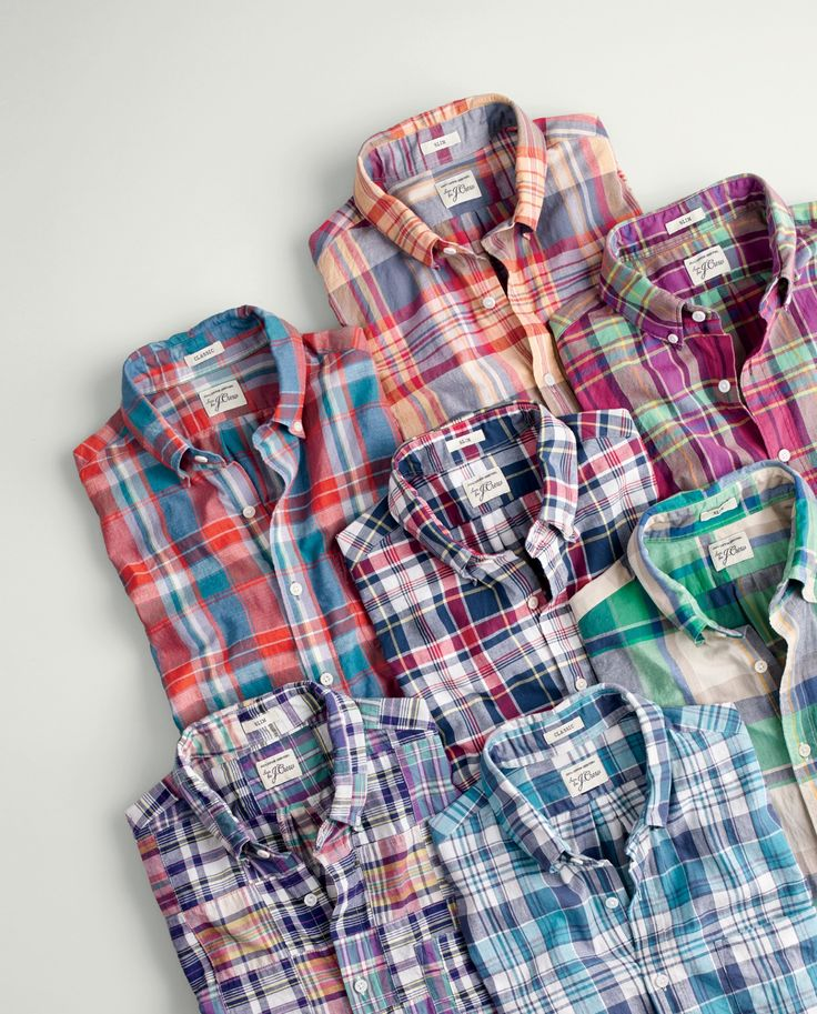 LOVE THESE!  J.Crew men's madras shirts. To pre-order, call 800 261 7422 or email verypersonalstylist@jcrew.com.