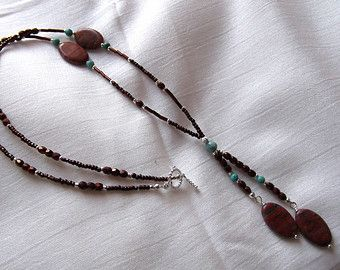 Jasper gemstone Turquoise magnasite & brown crystal drop necklace Rustic long beaded necklace Gemstone jewelry Beaded jewelry Womens gift