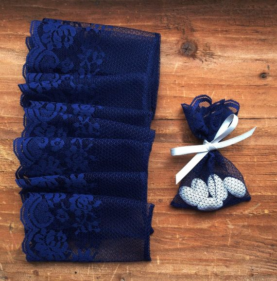 navy wedding lace favor bag, blue favor bags, italian wedding favors, jewelry pouches, jordan almond favor bag, party favor bags