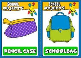 School objects - flashcards