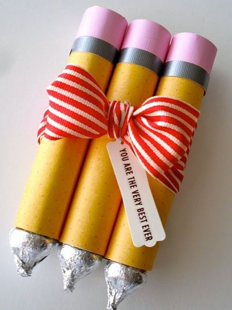 Make these for Aunt Marilyn some Christmas! These are a few yummy pencils tied together with a bow. Use hershey kisses at the bottom for pencil points and put some other sturdy candy in the tubes that are wrapped in yellow, grey, and pink paper.