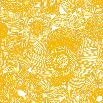 Latest Designer Fabric 'Kurjenpolvi Fabric in white, yellow' by Marimekko (FIN). Buy online or visti our fabric retail store in Christchurch.
