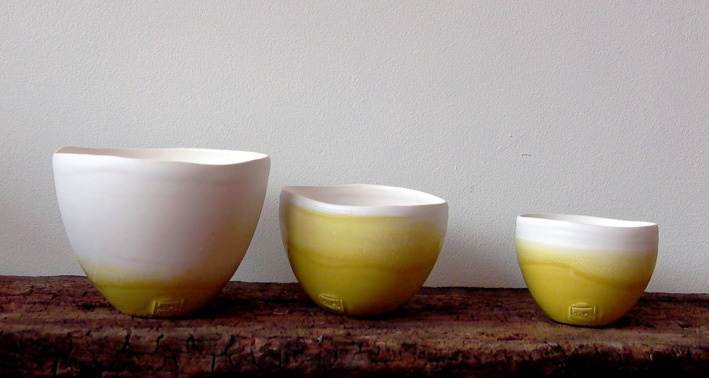 Anne Ronjat yellow dipped, ceramic earthenware bowls from www.silkstonewood.com.au