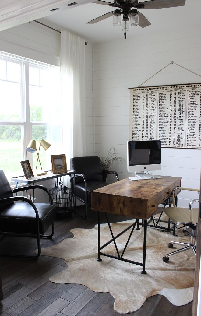 Industrial Farmhouse Home Office With Shiplap Masculine Home