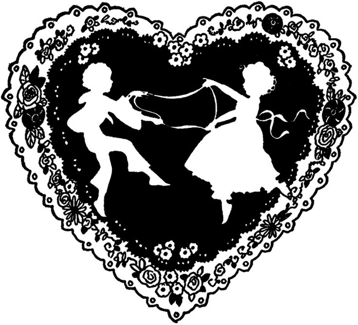 Vintage Valentine Silhouette Freebie