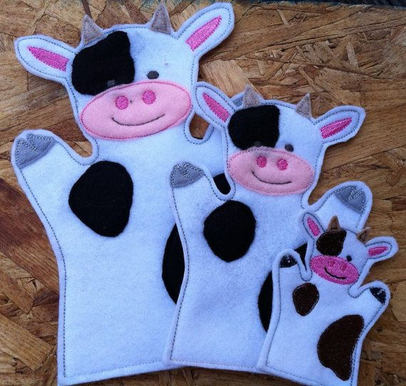Cow Farm Animal Felt Hand AND Finger Puppet by ThatsSewPersonal, $18.00