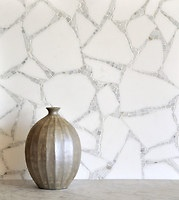 Path, a stone mosaic shown in Thassos and Calacatta, is part of the Metamorphosis Collection by Sara Baldwin for New Ravenna Mosaics.