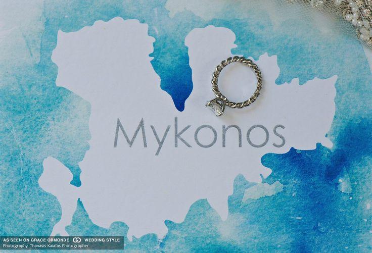 mykonos map custom wedding invitation idea