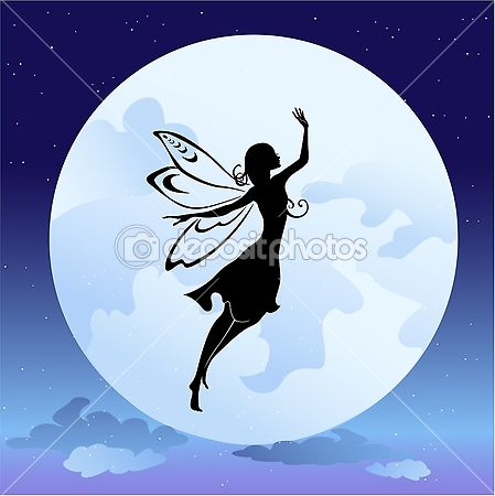 Flying fairy silhouette in night