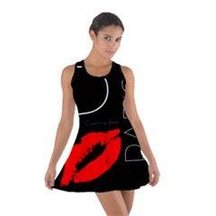 #Funny Greetings From Paris Red Lipstick Kiss Black Design #Racerback #Dresses