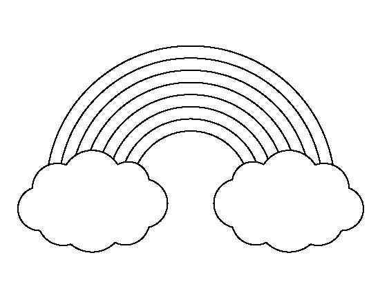 Rainbow with clouds pattern use the printable outline for for Rainbow templates to colour