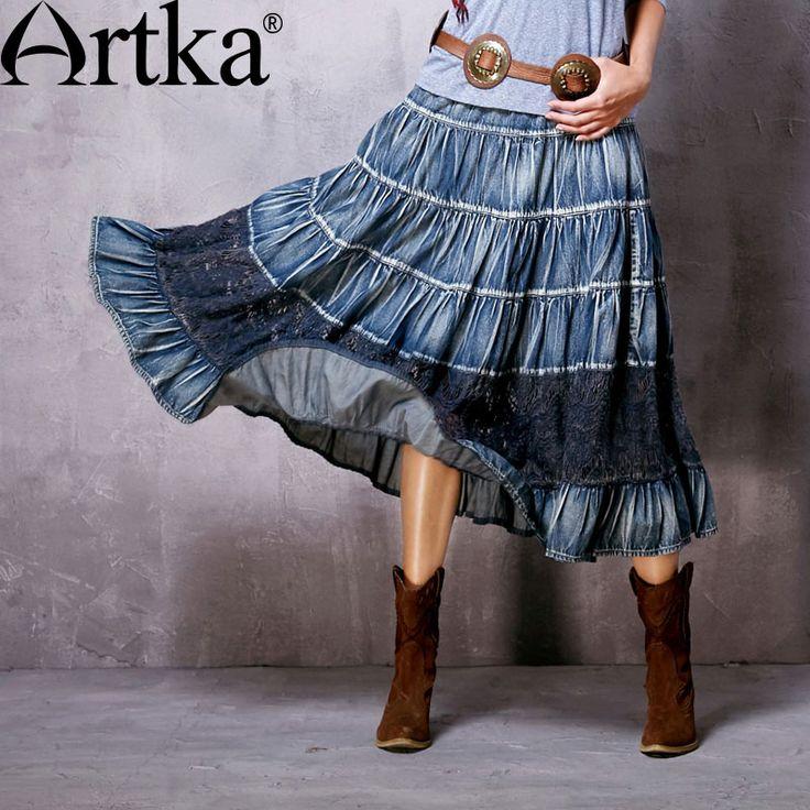 Купить Artka женская весна новый Boho стиль кружева лоскутное джинсовая юбка старинные удобные средний икры широкий подол юбки QN10065Cи другие товары категории Юбки и юбка колготкив магазине ArtkaнаAliExpress. юбка шелк и резиновые юбки
