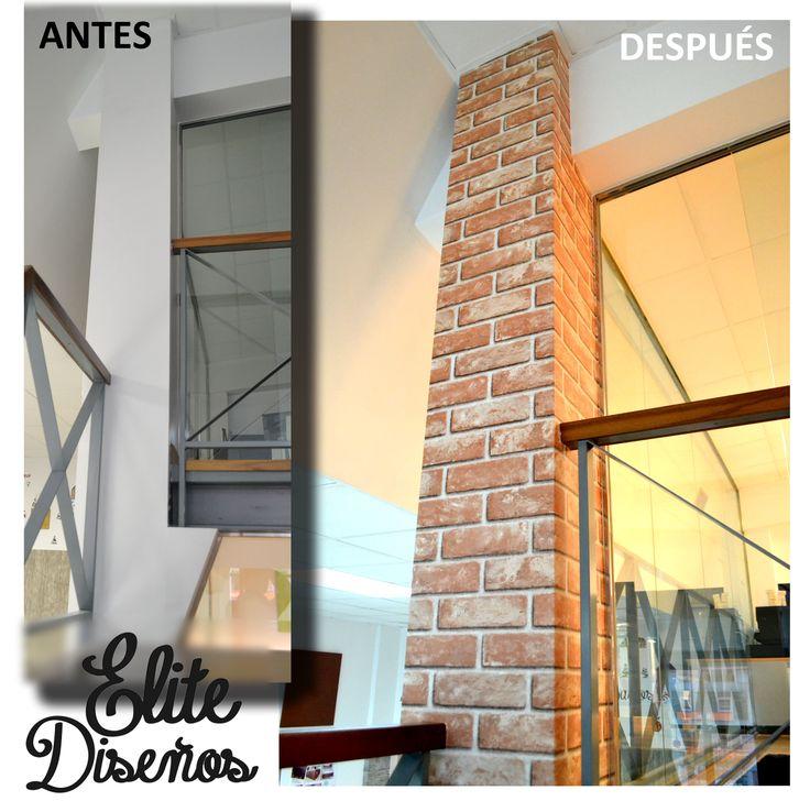 ¡Renovarse o morir! Consigue en minutos una espectacular columna de #ladrillo visto con #Infeel. #decoracion #hogar