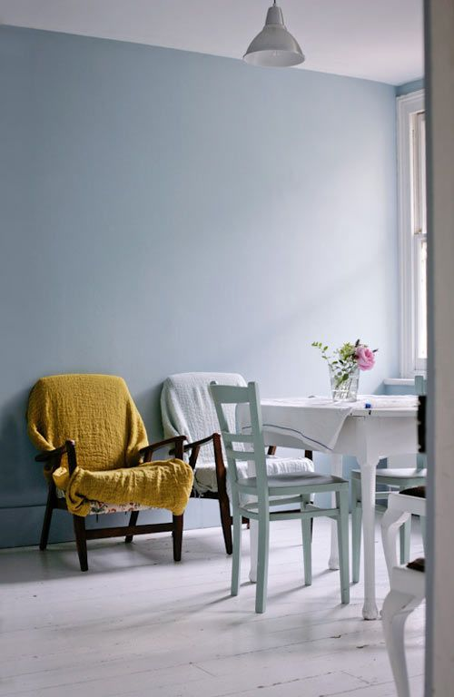 Blue walls in Parma Gray by Farrow & Ball.