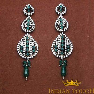 Emerald & American Diamond Brass Earrings