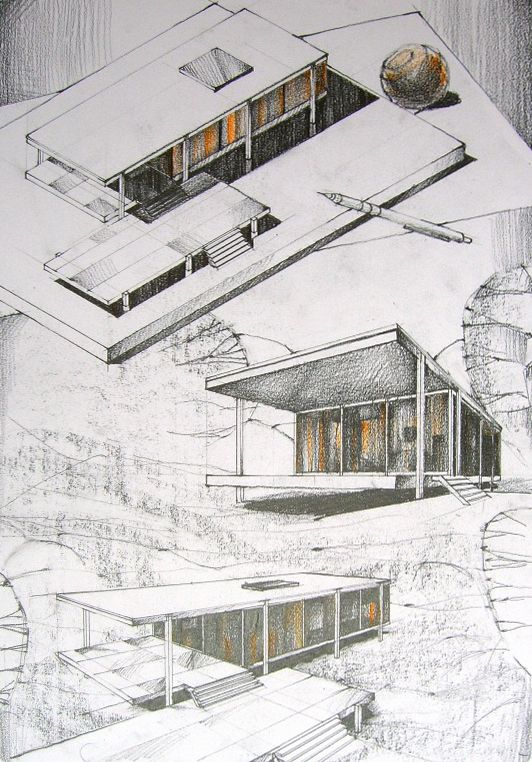 Andrei Pomana: Farnsworth House in pencil, repeated.