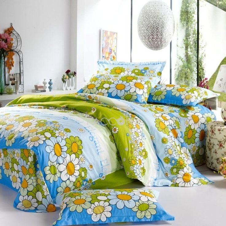 sunflower cotton 4piece fullqueen size duvet cover reactive - Queen Size Duvet Cover