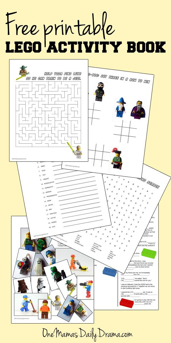 Free printable LEGO activity book   One Mama's Daily Drama --- Puzzles, games, & fun LEGO activities for kids.