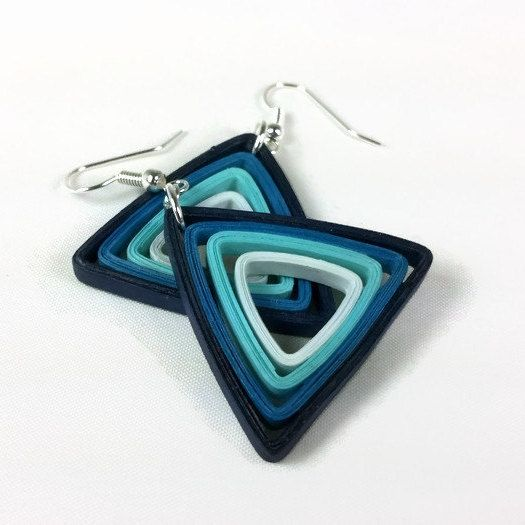 Blue Paper Triangle Earrings Modern Quilling Jewelry
