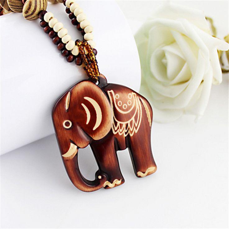 2017 Fashion Women Boho Ethnic Carving Beach Jewelry Handmade Beads Wood Elephant Pedant Necklace Sweater Chain Pendant Necklace