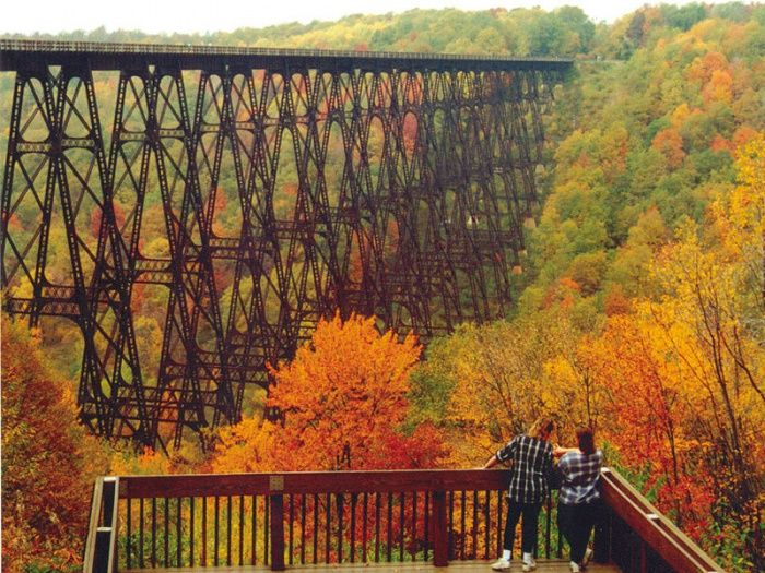 Fall view of an old railroad trestle,now in a state park east of Scranton. Kinzua Bridge:   original bridge built in 1882, subsequent bridge built in 1900 and destroyed in 2003 by a tornado. The ruins remain.