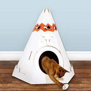 Cardboard Teepee Cat Playhouse