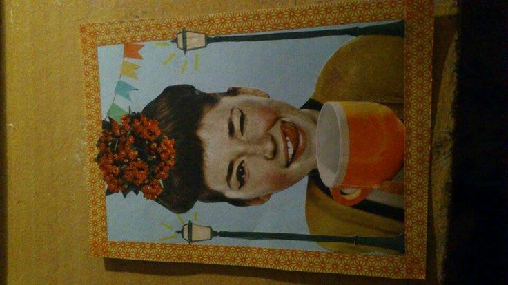 Postcard with tape and collages